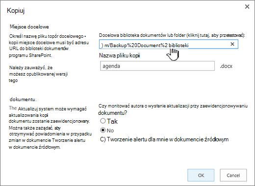 Okno dialogowe Kopiowanie z wybranym adresem URL.