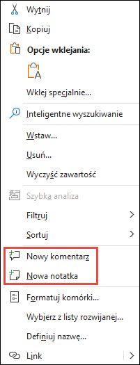Obraz przedstawiający menu kontekstowe programu Excel dostępne po kliknięciu prawym przyciskiem myszy