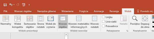 Przycisk wzorzec slajdów znajduje się na karcie Widok na Wstążce.