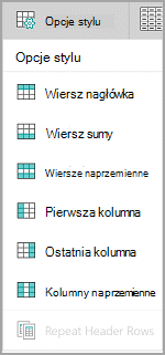 Opcje stylu tabeli systemu Windows Mobile