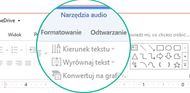 """Po zaznaczeniu klipu audio na slajdzie, zostanie wyświetlona sekcja """"Narzędzia audio"""" na wstążce z paskiem narzędzi, która zawiera dwie karty: Formatowanie i Odtwarzanie."""