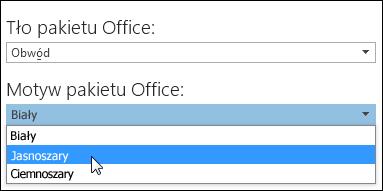 Wybieranie innego motywu pakietu Office