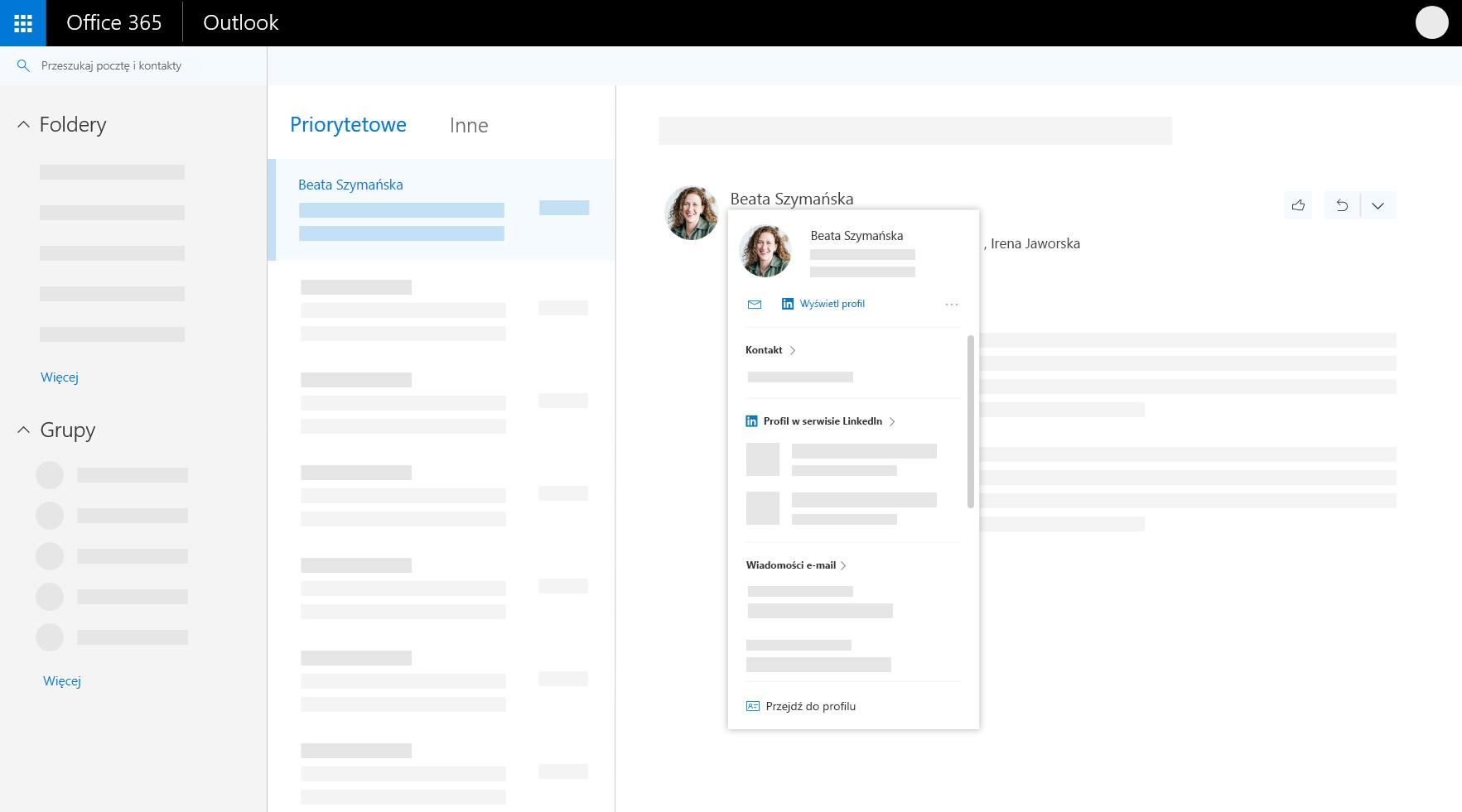 Karta profilu w programie Outlook w sieci web