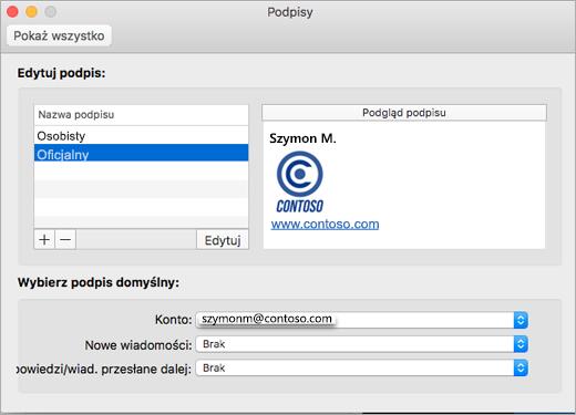 Strona Podpisy w oknie dialogowym Preferencje w programie Outlook
