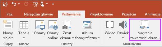 Przycisk Wstaw nagranie zawartości ekranu w programie PowerPoint 2016
