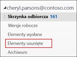 Jeśli zostanie wyświetlony folder Elementy usunięte, można odzyskać usunięte elementy.