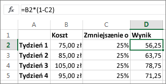 Przykład pokazujący, zmniejszenie ilości o procent