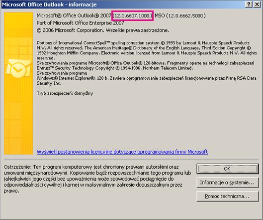 Zrzut ekranu, na którym widać, gdzie w oknie dialogowym Microsoft Office Outlook —informacje jest wyświetlany numer wersji programu Outlook 2007.