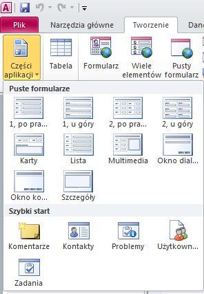 Części aplikacji na karcie Tworzenie