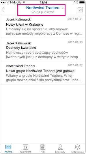 Widok przenośnych konwersacji programu Outlook z wyróżnionym nagłówka