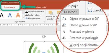 Polecenia obracania są dostępne na karcie Formatowanie w obszarze Narzędzia do rysowania na wstążce paska narzędzi. Zaznacz obiekt, który chcesz obrócić, a następnie kliknij wstążkę.
