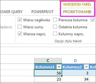 Obszar Narzędzia tabel na Wstążce