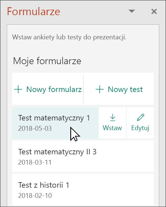 Wstawianie formularza lub test z poziomu okienka Microsoft Forms w programie PowerPoint