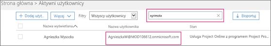 """Zrzut ekranu przedstawiający sekcję strony Aktywni użytkownicy z terminem wyszukiwania (""""lidia"""") wpisanym w polu wyszukiwania, które sąsiaduje z opcją Filtry ustawioną na wartość Wszyscy użytkownicy. Poniżej widać pełną nazwę wyświetlaną i nazwę użytkownika."""