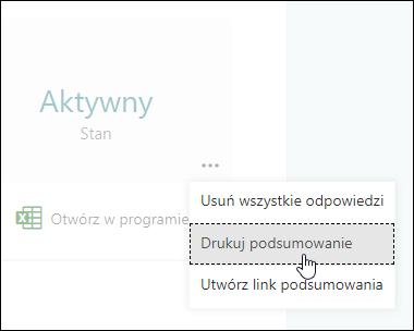Opcja Drukuj podsumowanie w programie Microsoft Forms