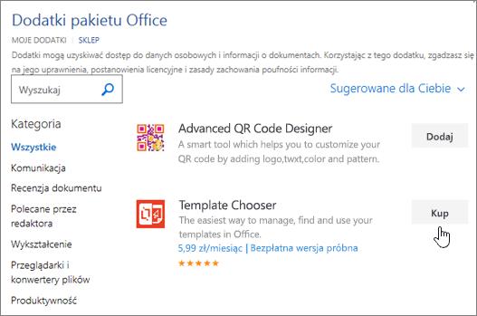 Zrzut ekranu przedstawiający stronę dodatków pakietu Office, w którym wybierz lub Wyszukaj dodatek dla programu Word.