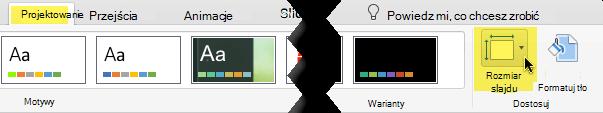 Przycisk Rozmiar slajdu znajduje się na prawym końcu karty Projektowanie na pasku narzędzi