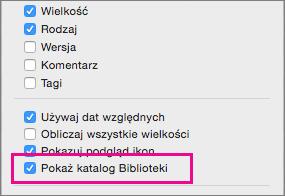Ustawienie pokazywania plików biblioteki w opcjach wyświetlania w programie Finder