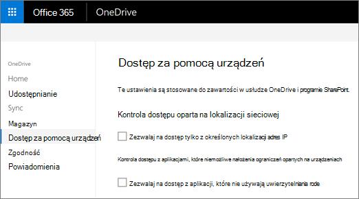 Karta urządzenia w programie access Centrum administracyjnego usługi OneDrive