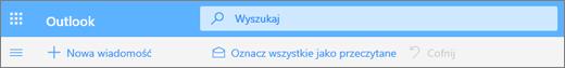 Zrzut ekranu przedstawiający pole zapytania wyszukiwania w usłudze Outlook.com.