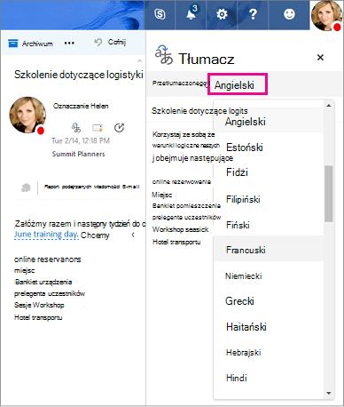 Wybierz język, na który chcesz tłumaczyć tekst wiadomości w usłudze Outlook.com lub aplikacji Outlook w sieci web