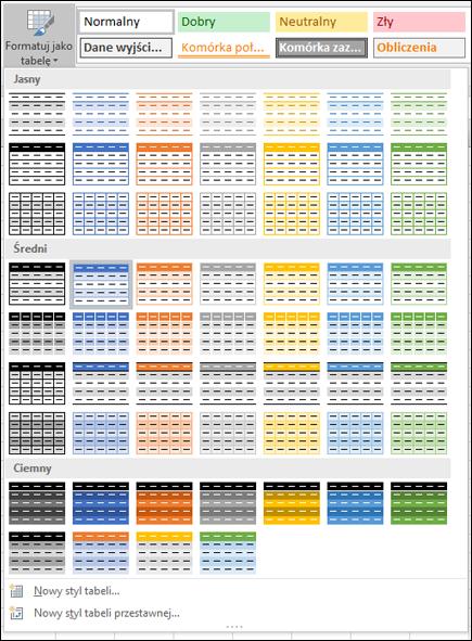 Galeria stylów tabeli programu Excel