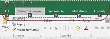 Etykiety porad dotyczących klawiszy widoczne na wstążce