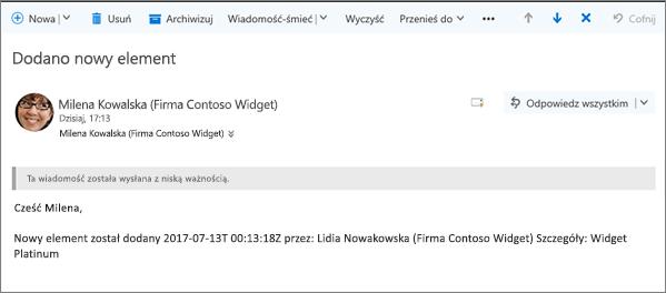 Wiadomości e-mail wysyłanych przez program Microsoft Flow po zmianie elementu