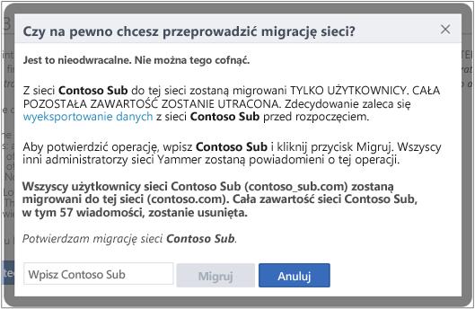 Zrzut ekranu przedstawiający okno dialogowe z potwierdzeniem zamiaru przeprowadzenia migracji sieci Yammer