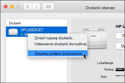 Kontrolki kliknij listę drukarek dostępu Resetowanie drukowania systemu OSX