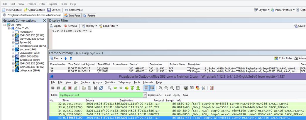 Filtrowanie w monitorze sieci lub programie Wireshark pod kątem pakietów Syn dla obu narzędzi: TCP.Flags.Syn == 1.