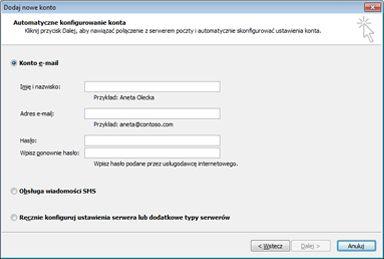 Okno dialogowe Dodawanie nowego konta z wybranym kontem e-mail