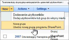 Tworzenie nowej grupy