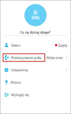 Ekran główny z opcją przekazywania połączeń aplikacji Skype dla firm dla systemu iOS