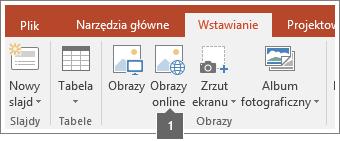 Zrzut ekranu przedstawiający sposób dodawania obrazów w trybie online w aplikacjach pakietu Office.