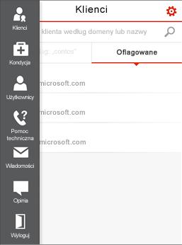 Menu Centrum administracyjnego partnerów w usłudze Office 365 dla urządzeń przenośnych