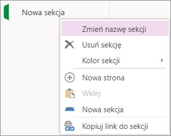 Opcja zmiany nazwy sekcji w aplikacji OneNote Online.