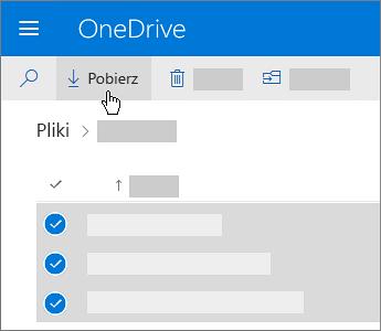 Zrzut ekranu przedstawiający wybieranie plików usługi OneDrive i pobieranie ich.