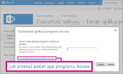 Przekazywanie pakietu aplikacji programu Access na stronie dodawania aplikacji w witrynie programu SharePoint