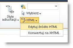 Polecenie Edytuj źródło HTML