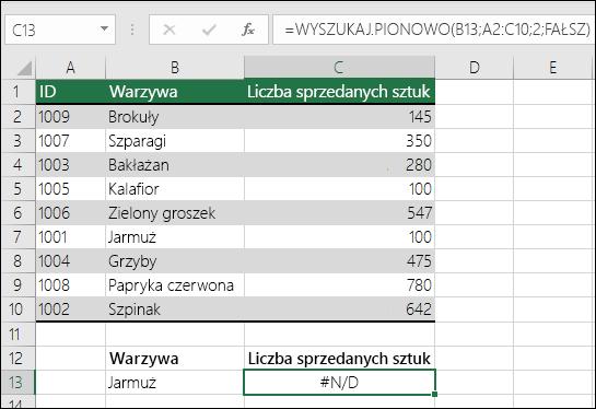 Błąd #N/D! w funkcji WYSZUKAJ.PIONOWO: szukana wartość nie znajduje się w pierwszej kolumnie w tabeli-tablicy