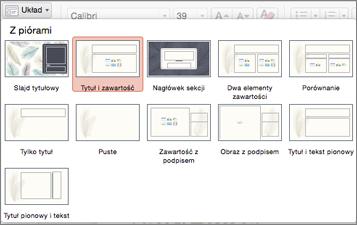 Na karcie Narzędzia główne kliknij pozycję Układ, aby zmienić wygląd slajdu