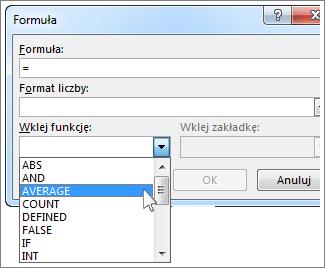 Okno Formuła z wyświetlonym menu funkcji