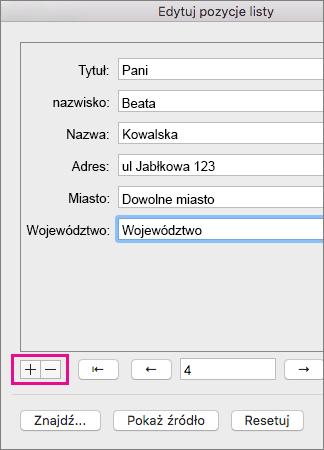 Kliknięcie znaku plus lub minus w celu dodania osób do listy lub usunięcia osób z listy.
