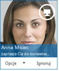 Zrzut ekranu przedstawiający okno dialogowe zaproszenia do wymiany wiadomości błyskawicznych.