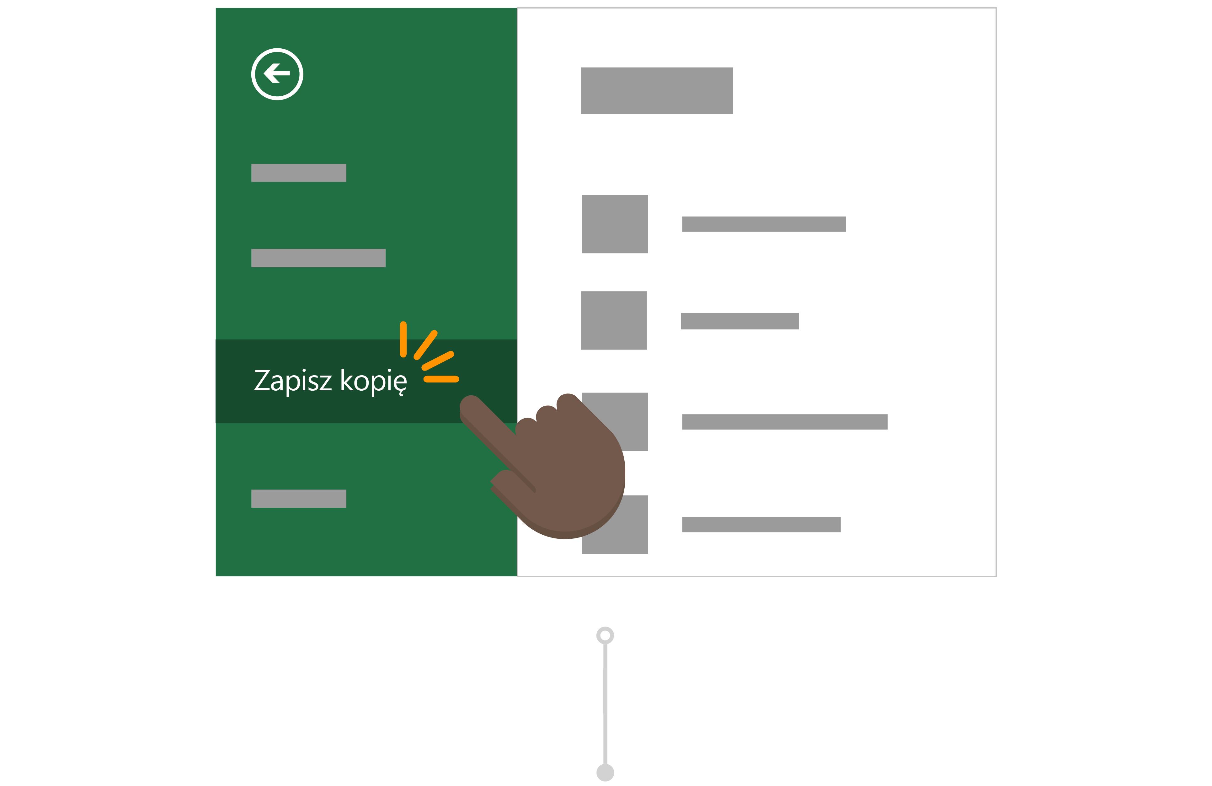 Aby dodać używa Zapisz kopię, aby zapisać własnej wersji raportu w jego OneDrive.