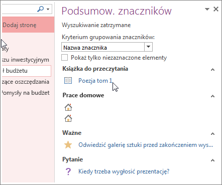 Wyszukiwanie oznaczonych notatek w okienku Podsumowanie znaczników