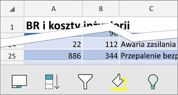 Arkusz z dostępnymi poleceniami kontekstowymi w dolnej części ekranu