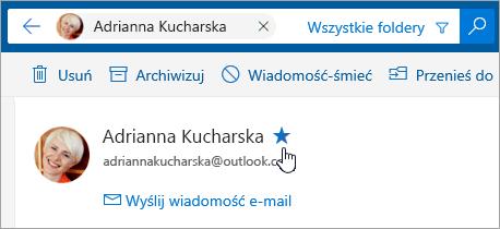 Zrzut ekranu przedstawiający przycisk Dodaj do ulubionych