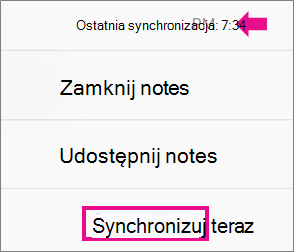 Polecenie Synchronizuj teraz telefonu iPhone